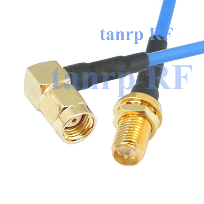 15CM coaxial Sexi Flexible blue jumper cable RG405 6in RP SMA male right angle to RP SMA female jack RF 3G 4G router WIFI