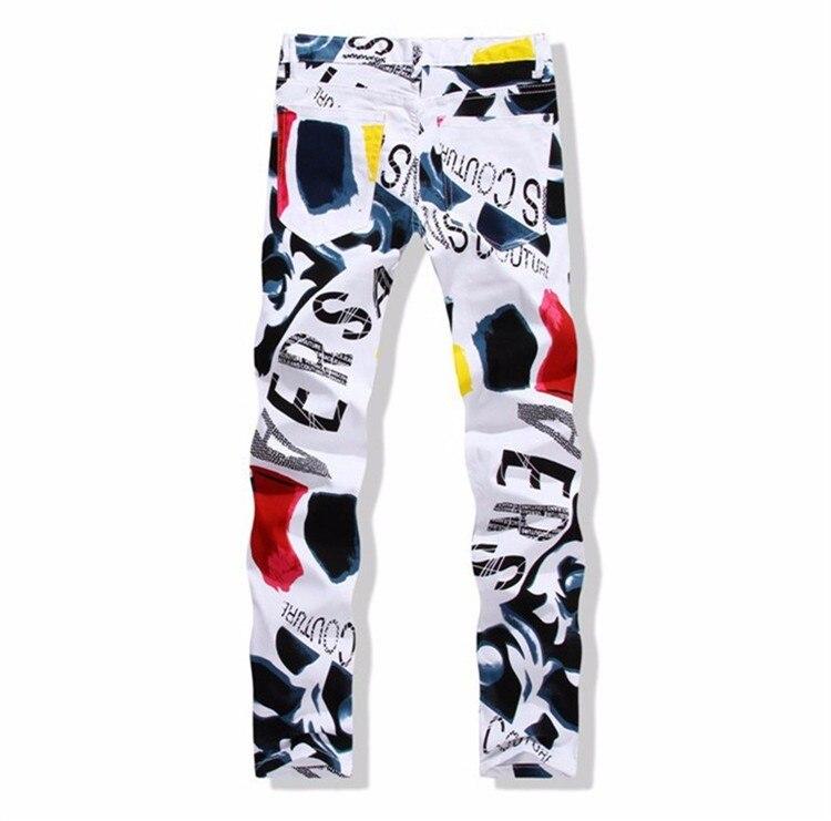 Big Size 28-44 White Printed Men Jeans Fashion Male Unique Cotton Jeans For Man Men's Casual Debris Printing Pants Hombre YN156 5
