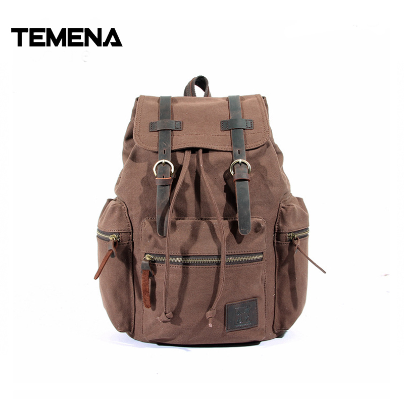 Temena Unisex Backpack Canvas Men Rucksack Casual Genuine Leather Male Backpacks Leisure Retro Men's Travel Shoulder Bags ABP365 high quality retro style men backpack multifunction casual travel canvas backpacks daily rucksack cotton canvas backpack