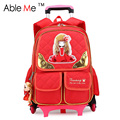 New Fashion Little Princess Plaid Printing Backpack Children Trolley School Bags For Teenage Girls Six Wheeled Trolley Bags