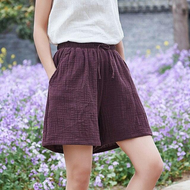Johnature New Style Casual Cotton Linen Women Shorts 2021 Summer New Solid Elastic Waist Women Shorts Wide Leg Shorts 1