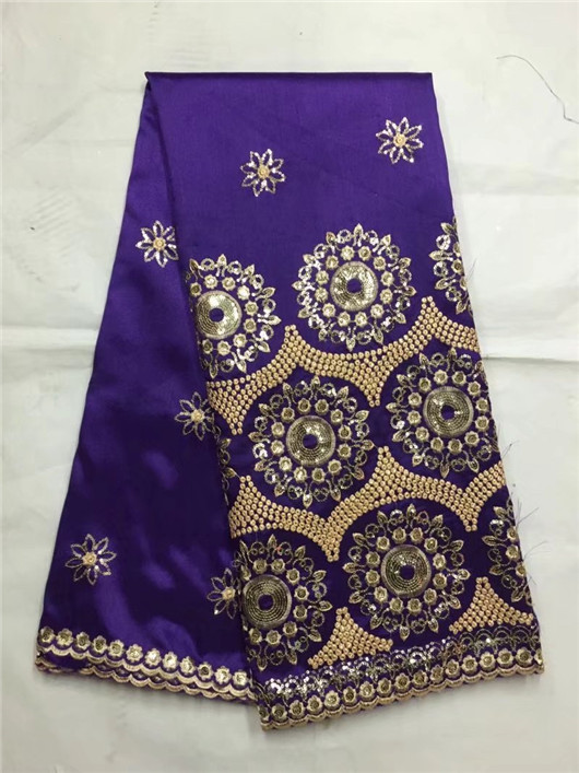 Royal Blue George Lace Fabric With Blouse African Rhinestones George Gold Line Guipure Lace With Stones