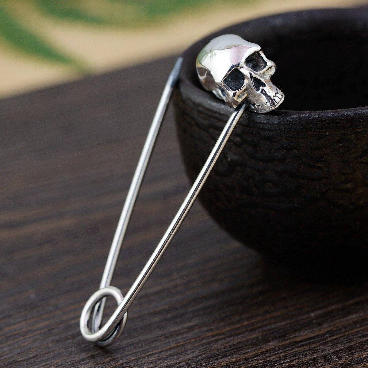Broche crâne en argent thaïlandais broches en argent à la main grande Broche Hijab Punk collier broches bijoux de luxe Broche SBH0008