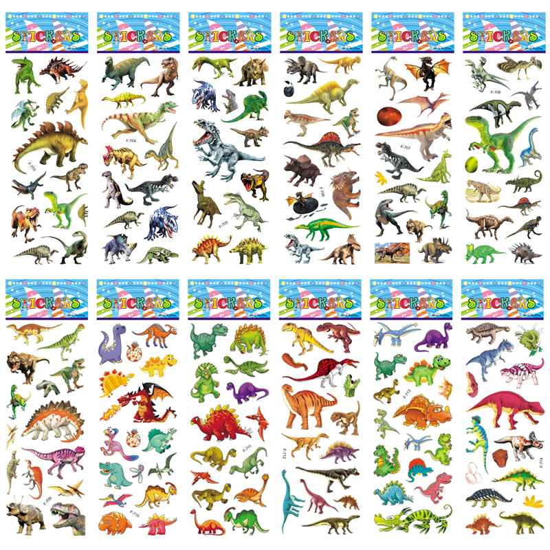 10pcs/lot 3D Dinosaur Stickers For Kids Toys Home Wall Decor Cartoon Mini Sticker Scrapbooking Kids Notebook Diary Label