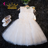 Lovely White Lace Appliques Beaded Flower Girl Dresses Kids Evening Gowns For Wedding First Communion Dresses