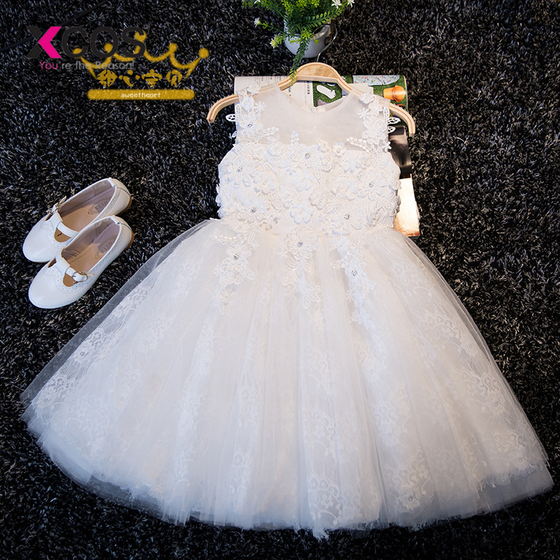Lovely White Lace Appliques Beaded   Flower     Girl     Dresses   Kids Evening Gowns For Wedding First Communion   Dresses   vestido comunion