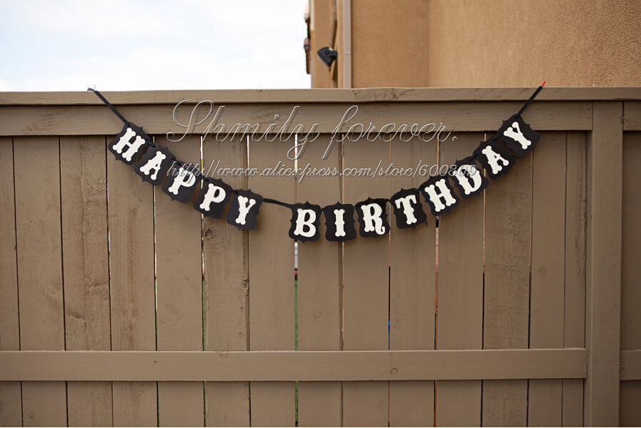 Hot Sale Customised Happy Birthday Rustic Vintage Banner Bunting Party Decoration In Banners Streamers Confetti From Home Garden On