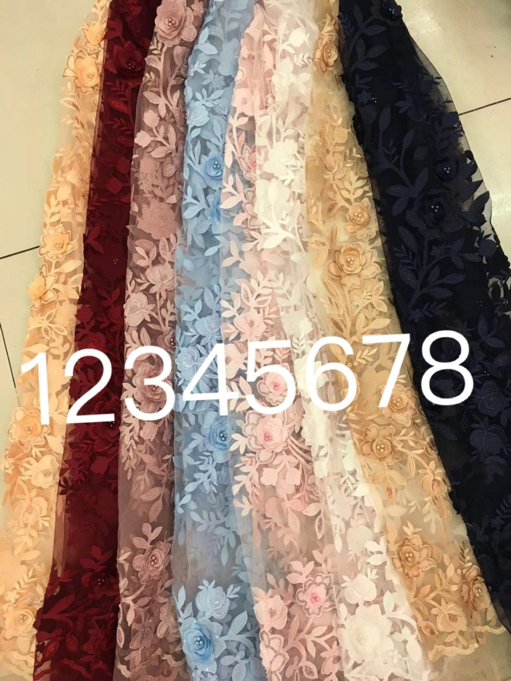 SH001 5yards /bag 8 color option 3d pearls flower applique dobby good quality tulle mesh lace fabric for wedding party