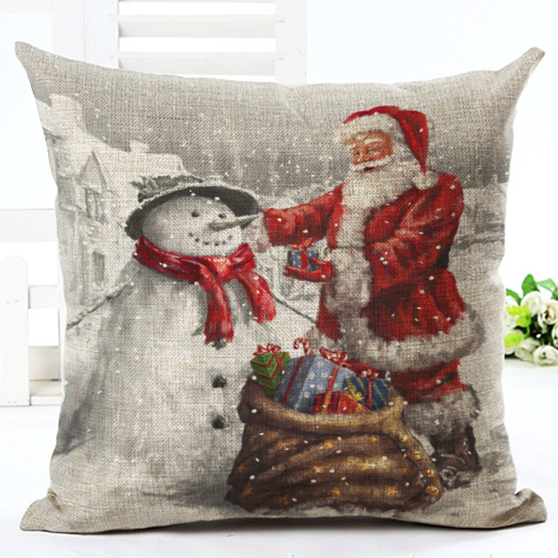 Christmas Decoration Cushion Cover Dogs and Cats Pillow Cute Throw Pillows Cotton Linen Tree Santa Claus New Year Gift 45x45cm