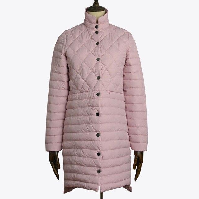 2019 צמר גפן מעיל דק בינוני ארוך אופנה חורף מעיל נשים צווארון עומד למטה כותנה מרופדת parka מקרית הלבשה עליונה בנות בד