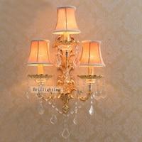 Arandelas de parede vela decorativa grande latão arandela hotel iluminação de parede com sombra facbric luzes LED de parede Moderna arandela
