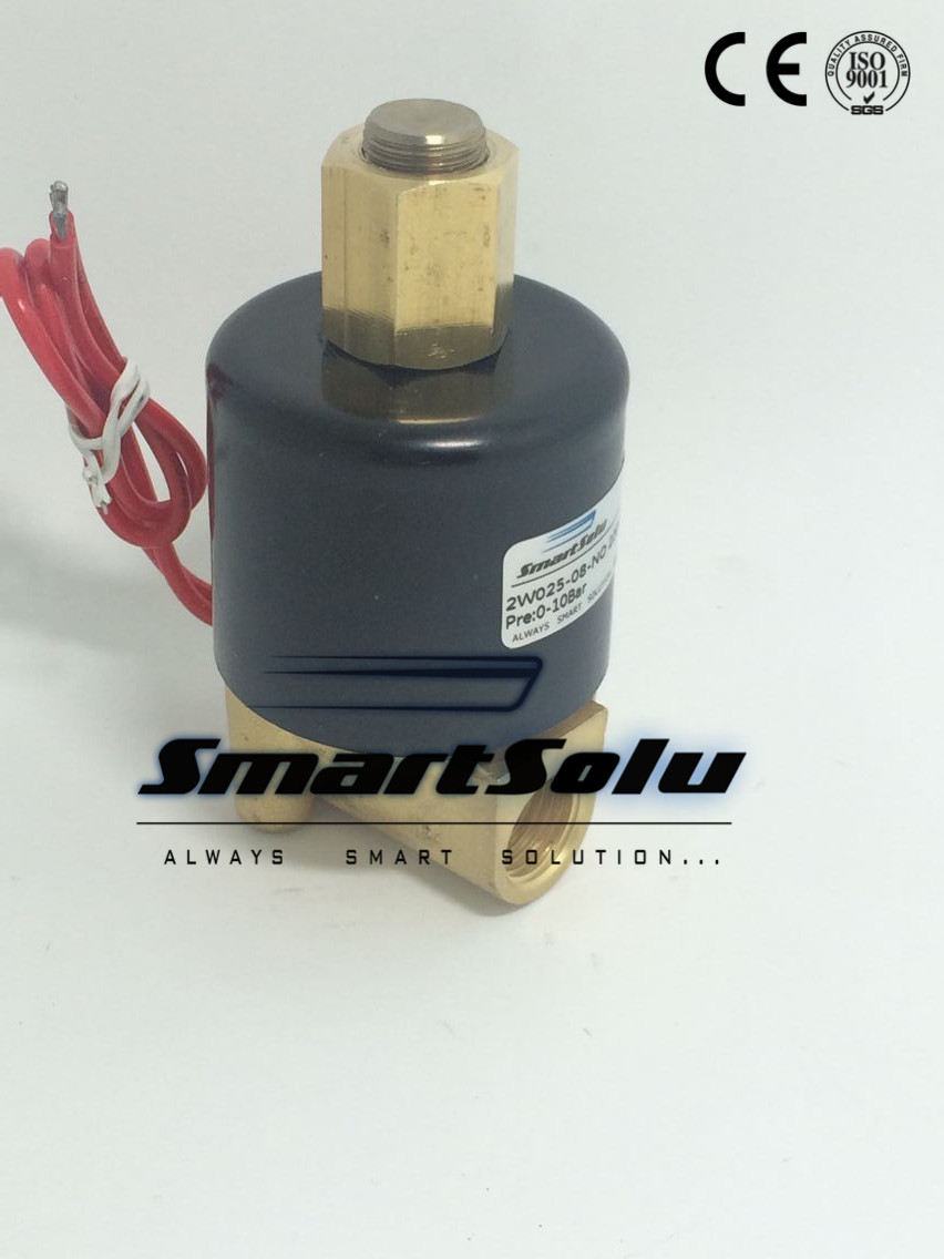 Normally Open 1/4 Inch 2 Way N/O Electric Solenoid Valve Water Air Gas, 2w025-08-NO, DC 24V dc 12v normally open n o 2 way pilot solenoid valve15mm water steam oil solenoid electric valve