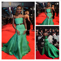 Limt Green Strapless Satin Mermaid Celebrity Dress Lupita Nyong Dresses Long Train With Sashes Women Formal Evening Gowns