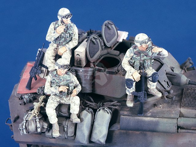 1/35 Resin Figure Model Kit Modern US Crew In Iraq War (3 Figures)  Toy Resin Model Miniature Resin Figure Unassembly Unpainted
