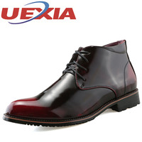 Men S High Top Patent Leather Shoes Men Casual Dress Shoes Ankle Boots Autumn Formal Business