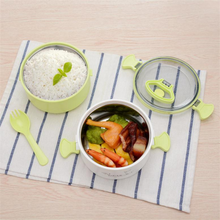 Stainless Steel  Insulated Food Storage Container Portable Picnic Bento Box Microwave Oven with Round Lunch