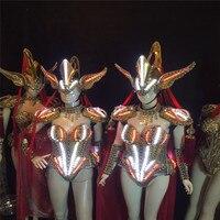 AS88 DJ helmet party wears led costumes ballroom dance luminous dress gold armor robot clothe Sexy outfit bodysuit performance