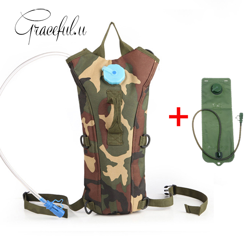 2.5L Water Bag Backpack Bottle Pouch Rucksack Outdoor Sport Camping Cycling Camouflage Pack with Water Bag Bladder