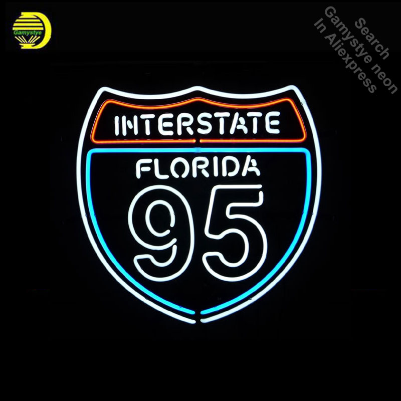 Neon Sign for Interstat Florida Route 95 Neon Bulb sign Iconic handcraft neon signboard shop neon wall lights anuncio luminos image