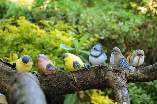 Playful Magpie Birds Statue Outdoor Artificial Bird Resin 6 Pieces A Set Garden Decor Home