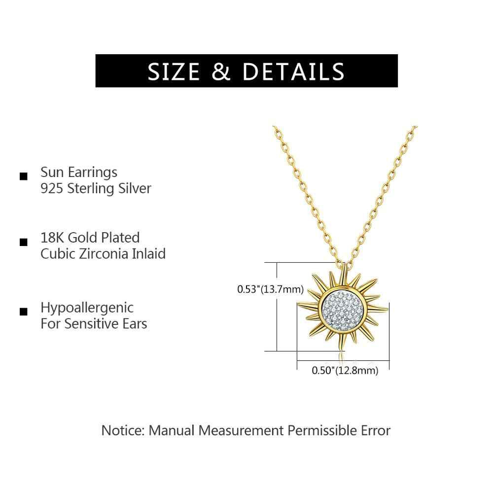 E Jewelry 18K Gold Plated 925 Sterling Silver Sun Flower Necklace Pendant Cubic Zirconia Korean Style Women 2019 Fashion