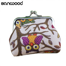 Fashion Women's Cute Multi-colors Owl Printed Coin Purse Wallets Canvas Pouch Money Bag(China)