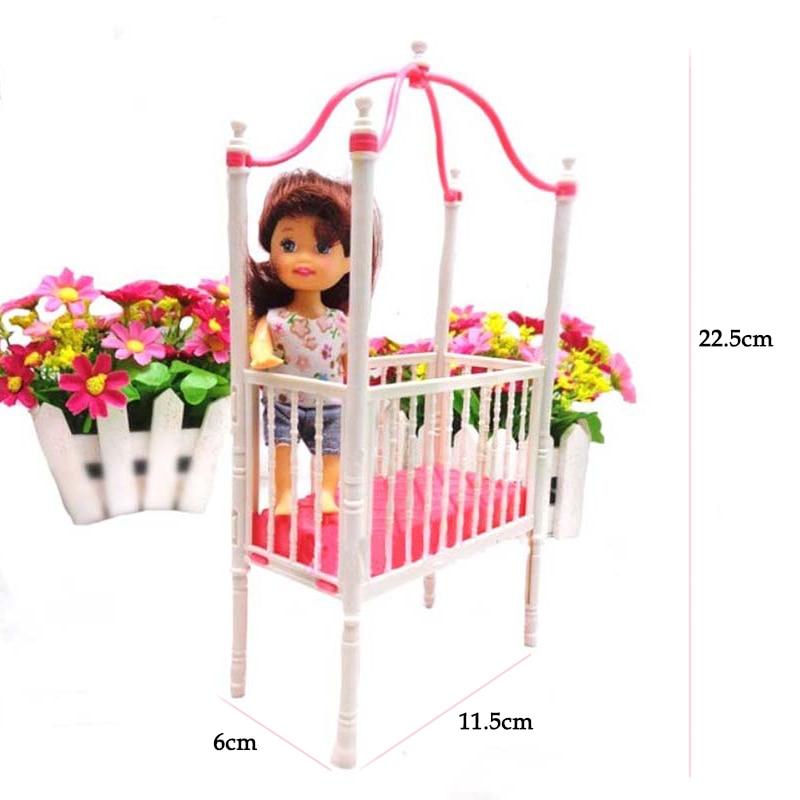 Venta caliente 1 unids moda infantil cuna cama para Barbies ...