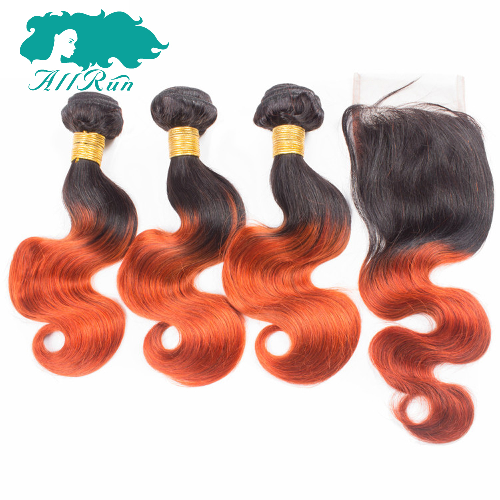 Allrun Pre-Colored 3 bundles Peruvian Body Wave Remy Ombre Human Hair With Closure 4*4 10inch-20inch Free Shipping