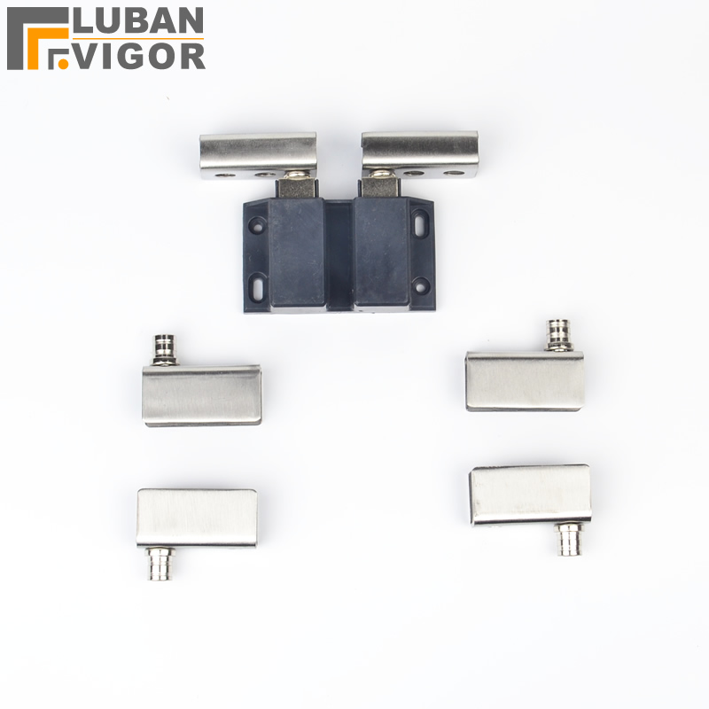 Double Door Glass Wine Cabinet Hinge Sets Stainless Steel