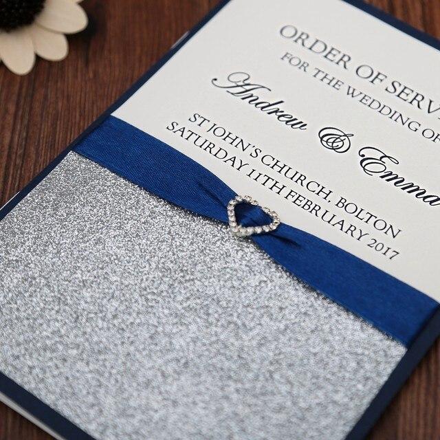 online shop blue wedding program free customized printing monogram