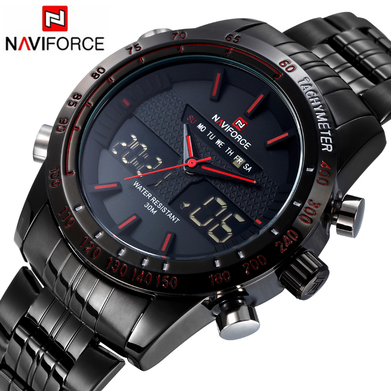 2016 Brand NAVIFORCE Watches men luxury Full Steel Quartz Clock LED Digital Watch Army Military Sport watch relogio masculino naviforce watches men luxury brand quartz watch clock digital led army military sport watch relogio masculino free for regulator