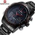 2016 Marca NAVIFORCE Relógios homens de luxo de Quartzo de Aço Completo Relógio LED Relógio Digital Militar Do Exército Sport watch relogio masculino
