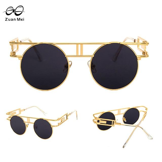 8832f28e1c52d ZuanMei Brand Metal Frame Steampunk Sunglasses Women Brand Designer Unique  Men Gothic Sun Glasses Vintage Oculos De Sol Feminino