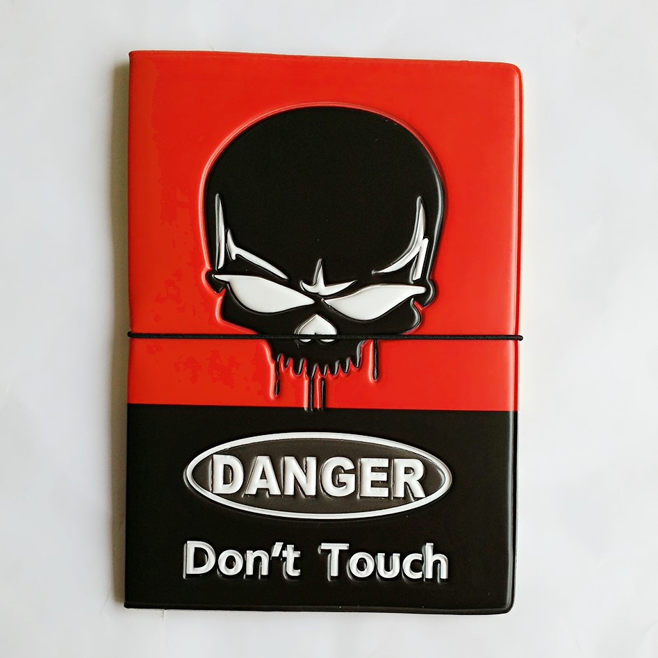 DANGER!Don't Touch!black Skull Heads Passport Holder for man,3D Design PVC Leather Travel ID Card Holder Passport Cover 14*9.6CM stylish plastic material back case cover with 3d vary picture design skull man pattern