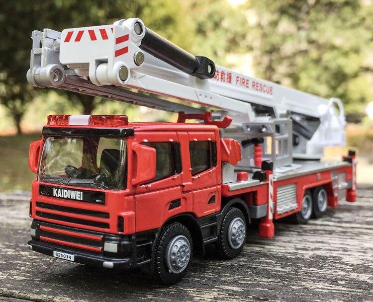 1:50 liga veículos de engenharia, alta de simulação de caminhão de Bombeiros, o fogo escada, carro de escalada, brinquedos educativos para crianças, frete grátis