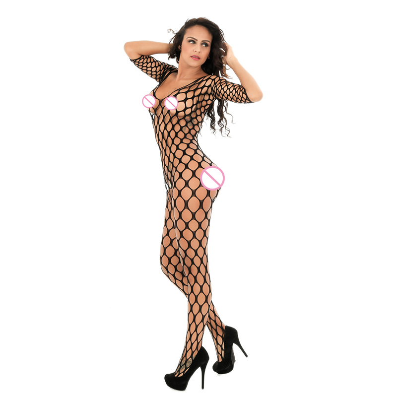 Buy Lady Sexy Lingerie Women's Fishnet Bodystocking Underwear Open Crotch Erotic Mesh Hollow Intimate Sleepwear Costumes C8948