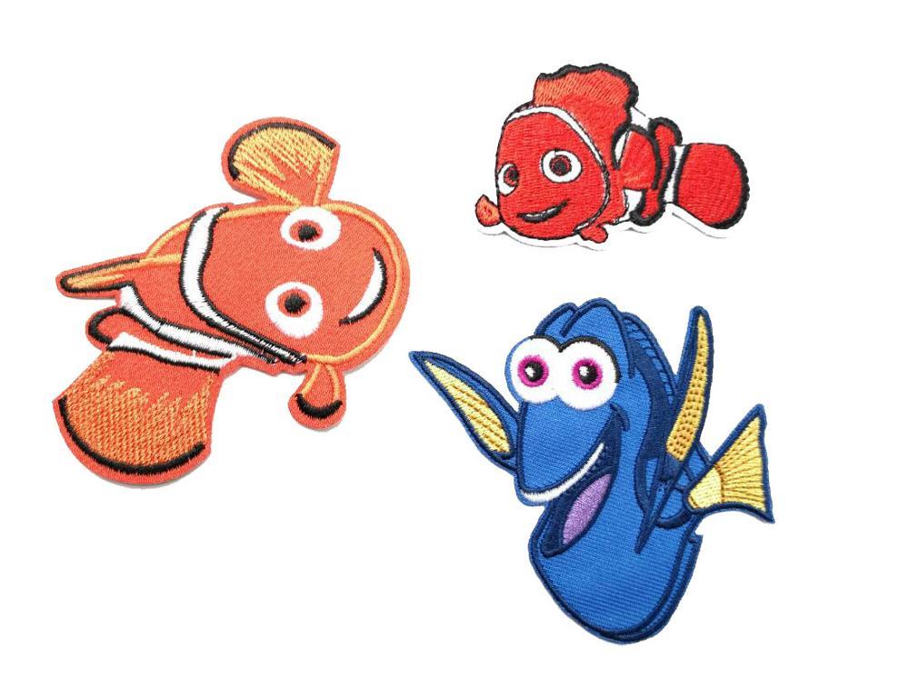 Nemo dory 미국 패치에 철 만화 물고기 동물 바이커 키즈 헝겊 패치 수 놓은 배지 도매-에서패치부터 홈 & 가든 의  그룹 1