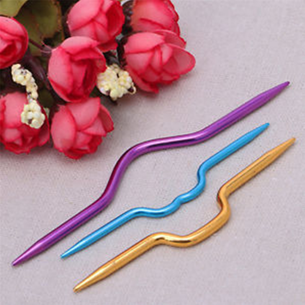3pcs Aluminum Knitting Cable Needles Crochet Hooks Sewing Stitch Knit Tools