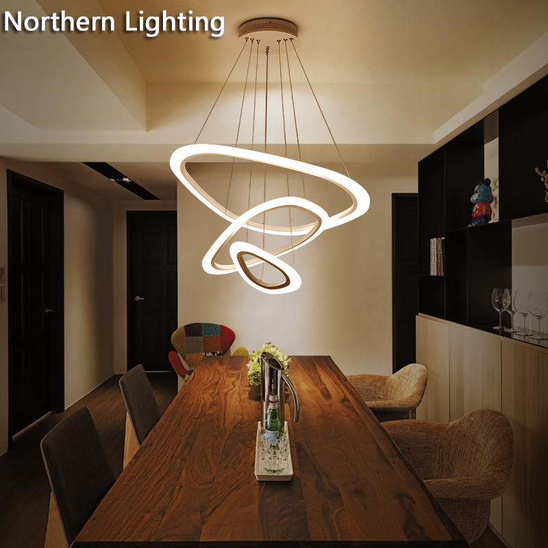 New Modern pendant lights for living room dining room 4/3/2/1 Circle Rings acrylic   LED Lighting ceiling Lamp fixtures