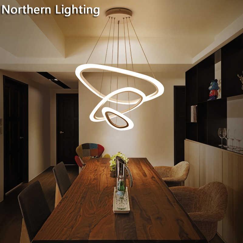 Nuevas luces colgantes modernas para sala de estar comedor 4/3/2/1 anillos  de acrílico LED accesorios de lámpara de techo de iluminación