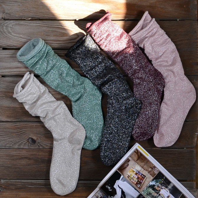 7e9a60de2 2017 Hot Sale Time limited Cotton Knee Socks Sexy Stockings Pearlescent  Glitter Piles Of Socks Female Fashion Personality Onion -in Stockings from  Women s ...
