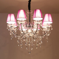 Nordic Chandelier Lighting country wrought iron crystal chandeliers ceiling E14 bedroom lamp creative cloakroom Bar lamp