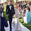 2017 Amazing Detail Lace Floral Off-shoulder Mermaid Wedding Dresses 2017 Custom Make Plus Size Trumpet Country Bridal Wedding