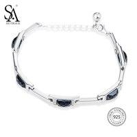 Sa silverage Настоящее стерлингового серебра 925 прямоугольник камень браслет Ювелирные украшения для Для женщин цепь браслет Новинка 2017 года Диз