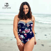 CUPSHE Plus Size Floral Print Push Up One Piece Swimsuit Sexy Backless Women Monokini Bathing Suits 2020 Girl Beach Swimwear