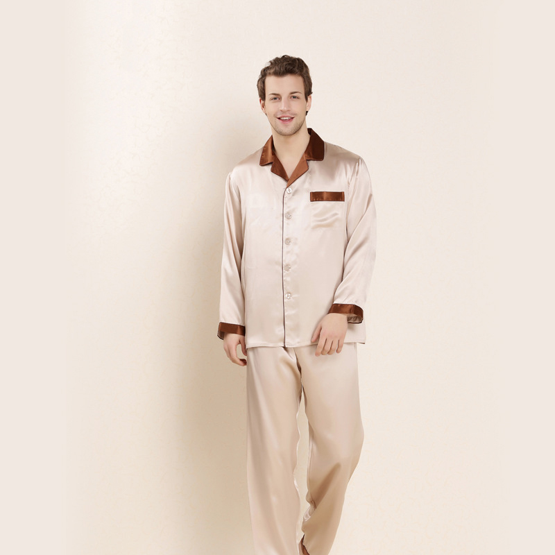 CEARPION Sexy Men Spring Autumn Pajamas 100% Silk Long Sleeve 2pcs Shirt&pant Casual Daily Male Home Clothes Soft Sleepwear