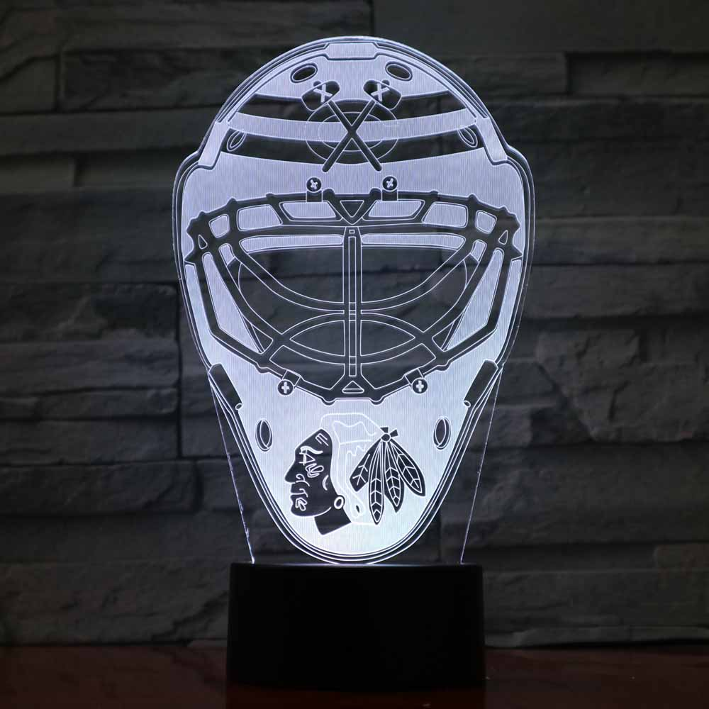 3D LED Ice Hockey Helmet Night Light Kids Touch Button USB Desk Lamp Bedroom Sleep Light Fixtures Sports Cap Home Decor Gifts 3 styles novelty lighting hockey player ice player 3d led night light touch usb lamp holiday gifts table desk light for kids