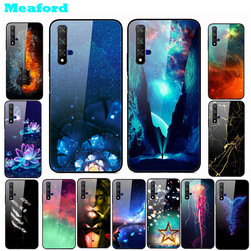 Tempered Glass Case For Huawei Honor 20 Hard PC Colorful Cover Pro 20S Bumper Phone Honor20 20Pro