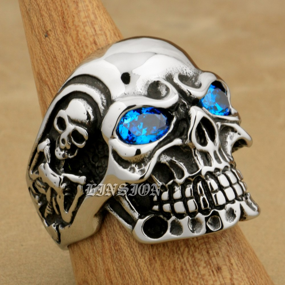 LINSION Berat Besar 316L Stainless Steel Ellipse Blue CZ Mata Titan Skull Mens Boys Biker Rock Punk Ring 3A201