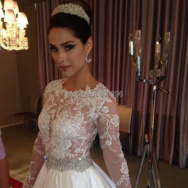 535dfc441 Sexy ver a través de O Neck vestido de boda 2016 mangas largas de encaje  hermosos